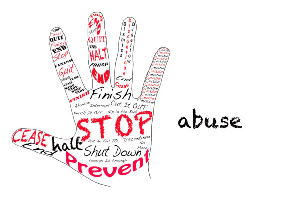 Outline of a hand with the words for Stop along with the word Abuse